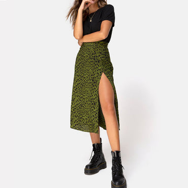 High Waist Shift Divide Midi Leopard Green Leopard Print Skirt