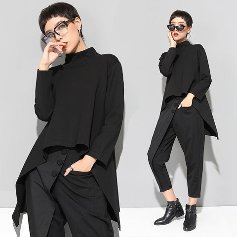 Black Turtle Neck Casual Long Sleeve Irregular Tops T-Shirts