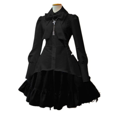 Lolita Big Size Pleated Lace Up Goth Vintage White Chic Dress