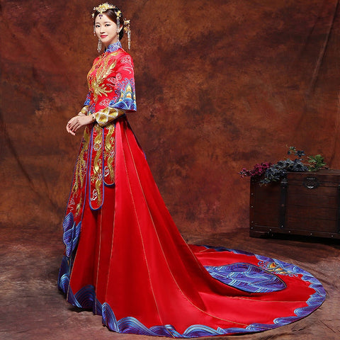 Vintage Blue Wedding Vestido Oriental Collars Elegent Dress