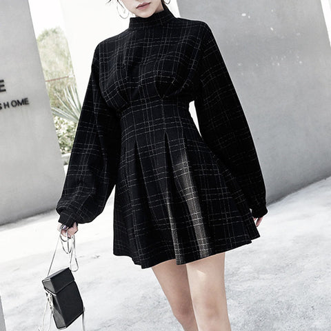Vintage Mini Long Sleeve Plaid A-lined Punk Style Gothic Dresses