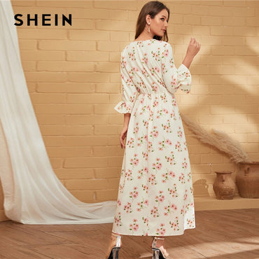 White V Neck Floral Holiday Flounce Sleeve Ruffle Flared Elegant Maxi Dresses