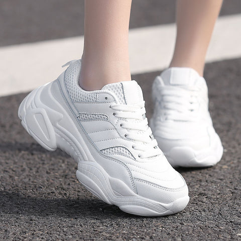 Hot Sale Fashion Casual Leather Platform Ladies White Trainers Chaussure Sneakers