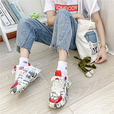 Thick Bottom Sneakers Mixed Colors Round Toe Platform Shoes