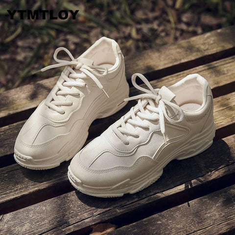 White Shoes Brand Retro Platform Ladies Footwear Breathable Mesh Sneakers