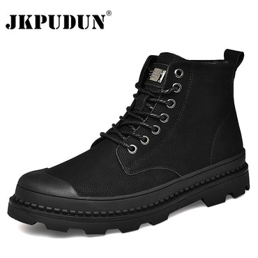 Black Warm Genuine Leather Ankle Work Shoes Military Fur Snow Boots