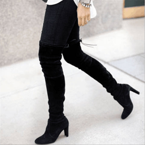 New Pointed Thick With Side Zipper Over The Knee Elastic Boots
