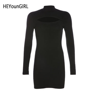 Basic Long Sleeve Black Ladies Harajuku Punk Casual Dress