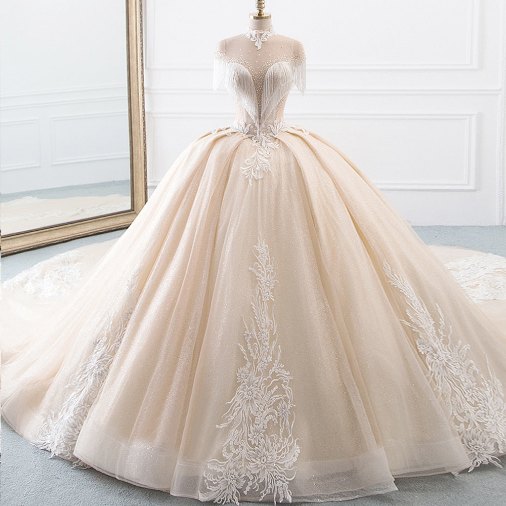 High Neck Ball Gown Wedding Princess Tulle Tassel Sleeves Dress