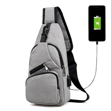 Casual Chest Pack Canvas USB Charging Messenger Bags