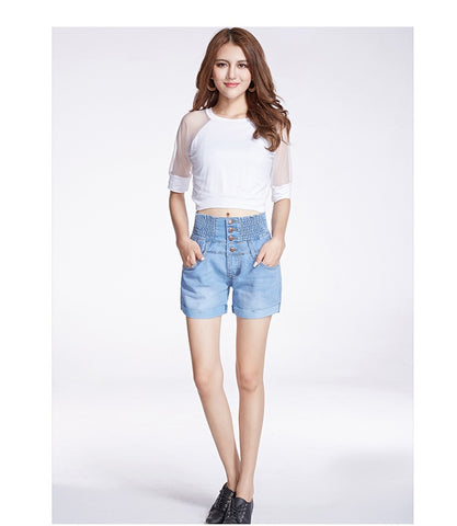 Slim High Waist Elastic Retro Jeans Short Feminino Loose Plus Size