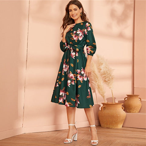 Green Abaya Elastic Waist Belted Floral High Waist Dress