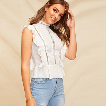 Boho White Ruffle Lace Buttoned Back Peplum Top