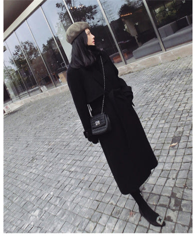 Casual Wool Blend Trench Oversize Long Coat with belt