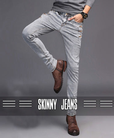 Fashion Trend High Street Streetwear Skinny Slim Fit Button Denim Pant Jeans