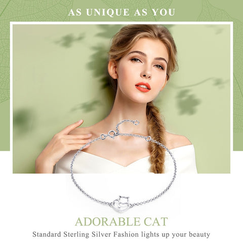 Sterling Silver Cat And Heart Link Chain Authentic Silver Jewelry Gift Bracelets & Bangles