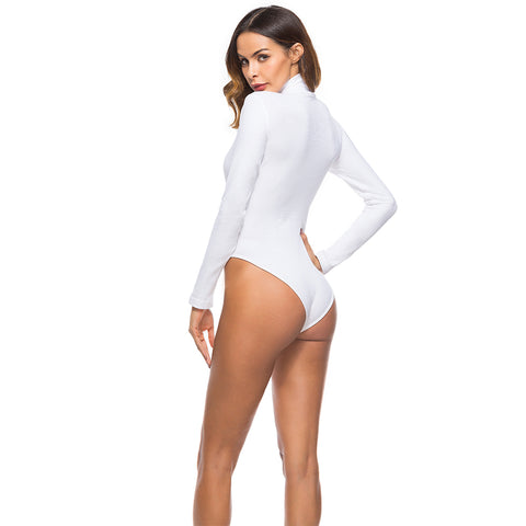 cotton long sleeve high neck skinny black white solid sexy body suit