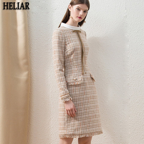 Chic Plaid Fashion Custom Midi Office Lady Slim Elegant Dress