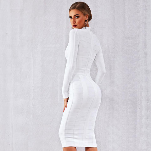 Party Bodycon Bandage White Long Sleeve O-Neck Hollow Out Dress