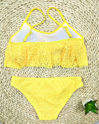 Push Up Simple Solid Color Set Sexy Low Waist Beach Swimwear Bikini