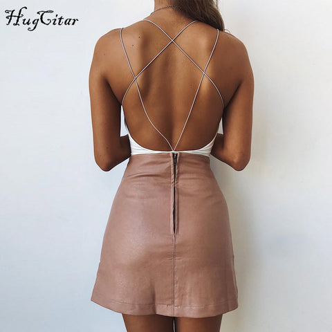 Hugcitar cotton backless sexy Bodycon Bodysuits