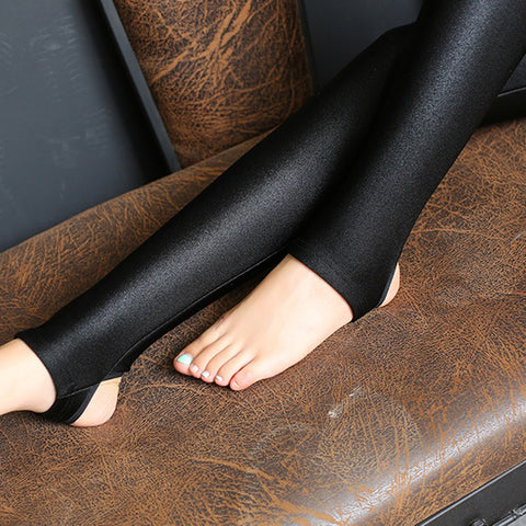 Thin Full Ankle Length Leggings Stretch Pants shiny