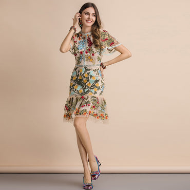 Fashion Runway Flare Sleeve Floral Embroidery Elegant Mesh Midi Dresses