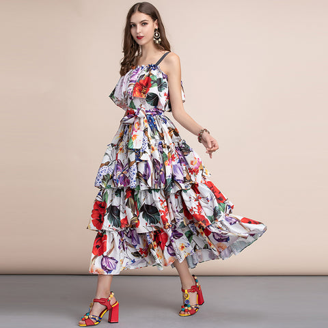 Fashion Runway Casual Holiday Long Slash neck Tiered Floral Dress