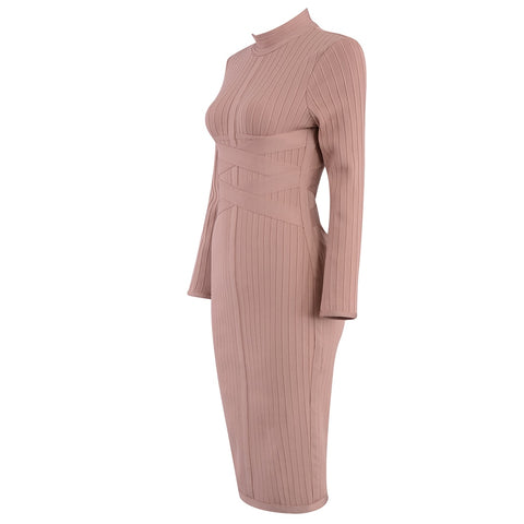 Bodycon Bandage Long Sleeve Sexy Midi Club Celebrity Party Dress