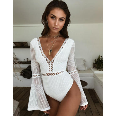 Lace Bodysuit Sexy Deep V-Neck Flare Sleeve Playsuit Romper