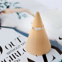 Simple Leaf Feather Rings Leaf Bird Feather Open Adjust Ring
