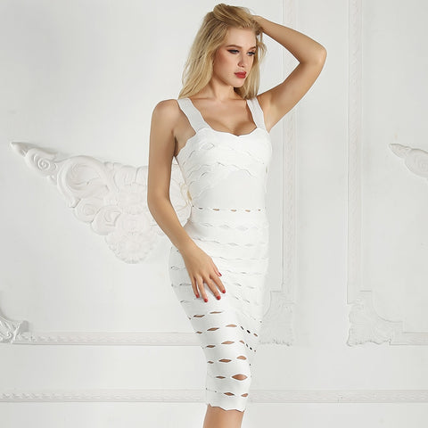 White Bandage Bodycon Midi With Open Back Celebrity  Night Club Party Dress