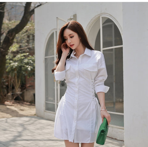 White Shirt Long Sleeve Bodycon Bandage Corset Office Dress