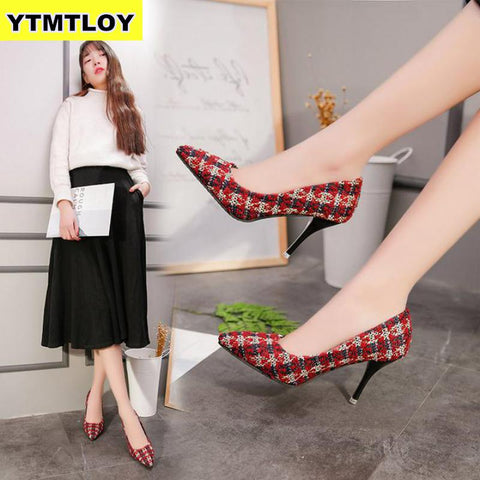 Pumps Fashion Party Pumps Shoes Pointed Toe Spot Lattice Luxury Heels