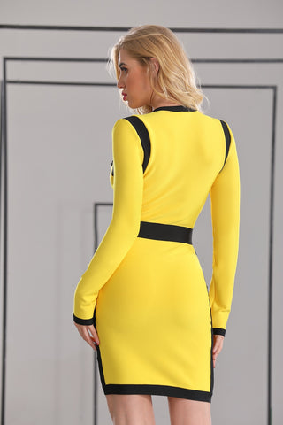 Yellow&Black Women V Neck Long Sleeve Celebrity Evening Party christmas Dress
