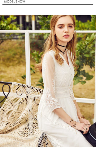 Vintage Lace Embroidered Floral High Waist V-neck Lady White Princess Dress