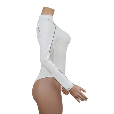 Long Sleeve Bodysuit jumpsuit Turtleneck White Rompers