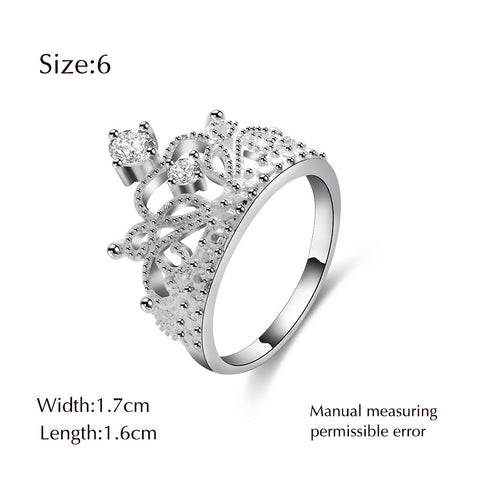 HOT Sale Princess Crown Rings Cubic Zirconia Micro Pave