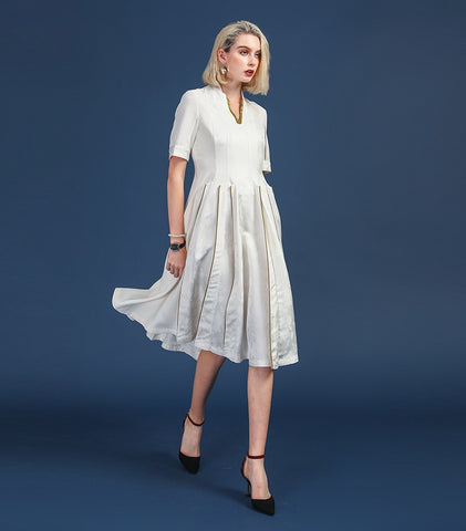 Heavy Silk White Office Pleated party night V Neck Half Dress
