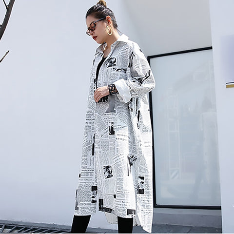 Lapel Long Sleeve White Printed Loose Irregular Big Size Long Shirt