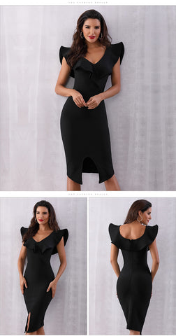 Party Bodycon Bandage Short Sleeve Off Shoulder Ruffles Sexy Dress