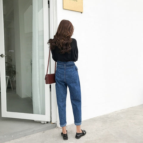 Fashion Vintage Jeans New Casual with Belt Irregular High Waist