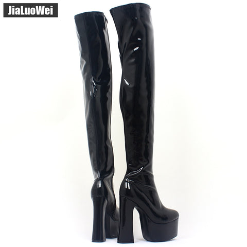 Over-the-Knee Boots Square Block Heel Platform Side Zipper