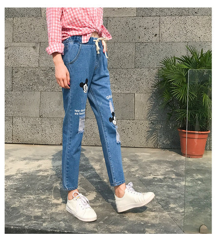 Knee Ripped Boyfriend High Waist Baggy Boyfriend Jeans
