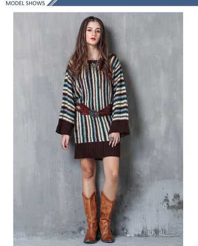 Sweater Boho New Cotton Pullovers O-Neck Batwing Sleeve Loose
