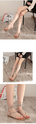 Cross strap Knee high Gladiator Strappy Clip Toe Flip flops Sandals