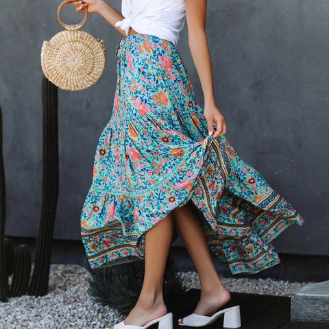 Boho Inspired Print High Waist skirts elastic wasit