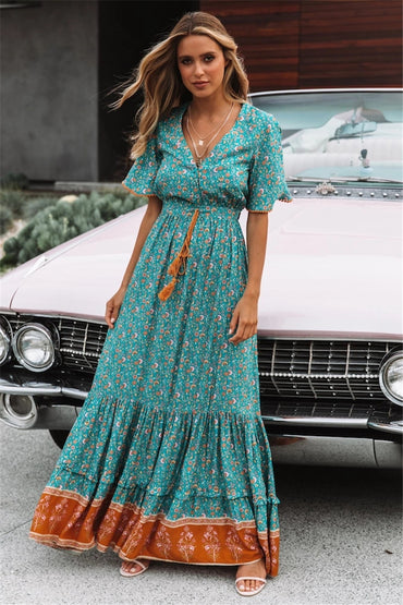 Vintage Chic floral print V-neck rayon long Bohemian Maxi dress