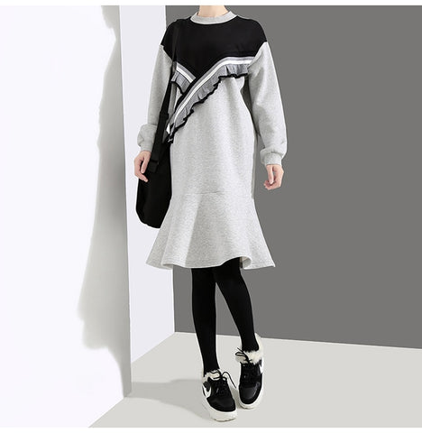 Gray Patchwork Trumpet Long Sleeve Ruffles Cute Midi Mermaid Dress