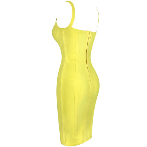 New Arrival Striped Neon Yellow Bandage Dress Rayon Sexy Party Dress